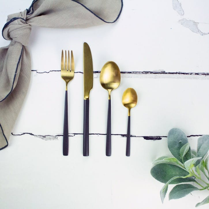 Dipped Grey and Gold Cutlery Set, 4 Pieces