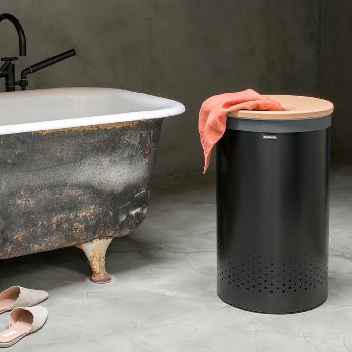 Linn Laundry Bin with Cork Lid, 60L, Black