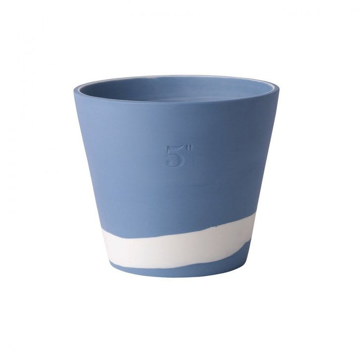 Burlington Pot White on Pale Blue Pot 5inch
