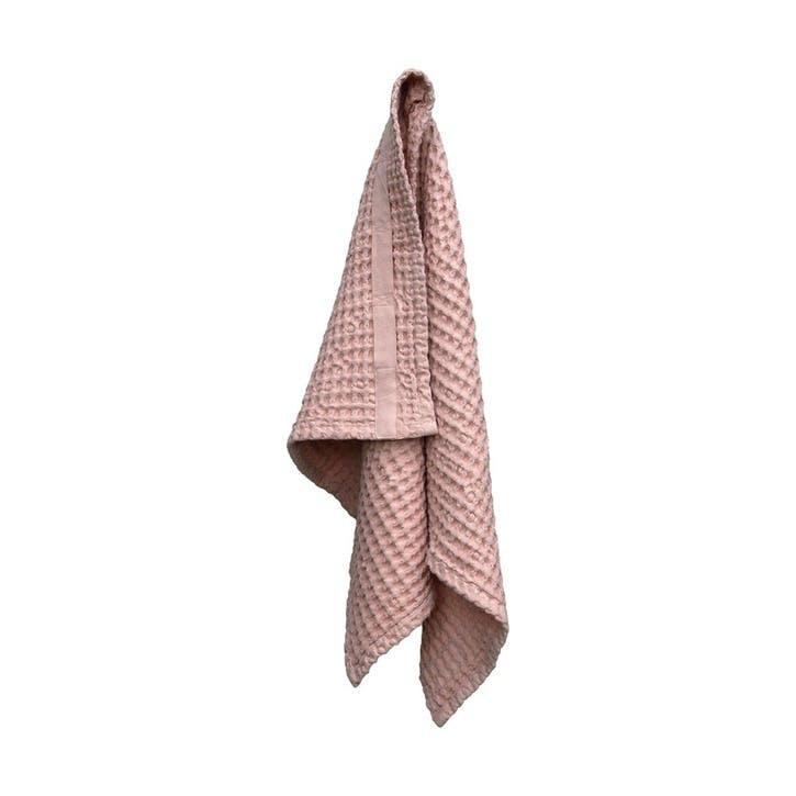 Waffle Hand Towel, L75 x W50cm, Pale Rose