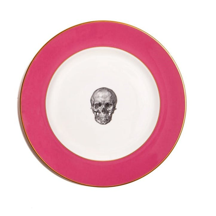 Rock and Roll Skull Dinner Plate, Raspberry Pink