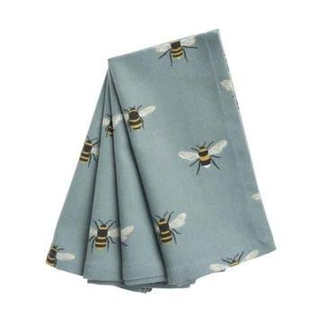 Bees, Napkins, Set of 4 Teal