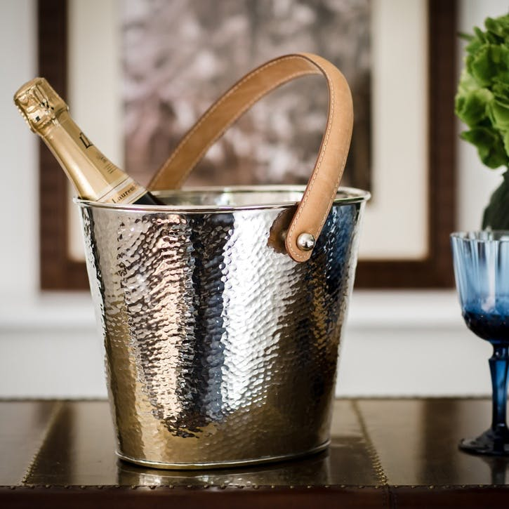 Leather Handled Wine Cooler; Champagne Hammered