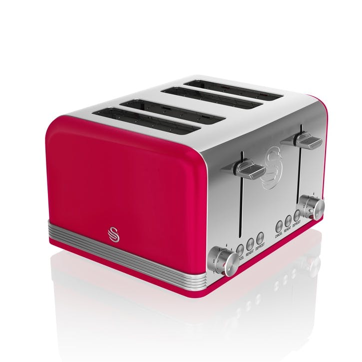Retro 4-Slice Toaster, Red