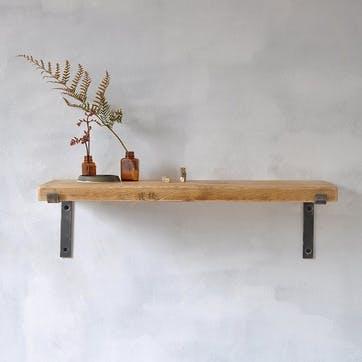 Brompton Wood And Steel Shelf - 60 x 22cm; Natural