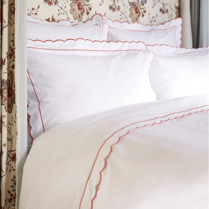 Coral Scalloped Super King Size Duvet Cover
