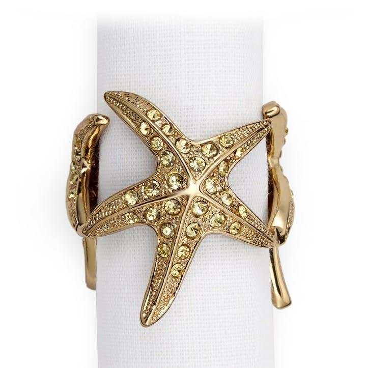 Starfish Set of 4 Napkin Rings, Gold
