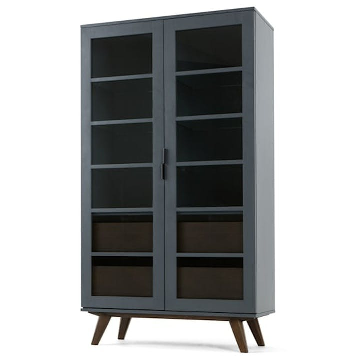 Aveiro Display Cabinet, Grey and Glass