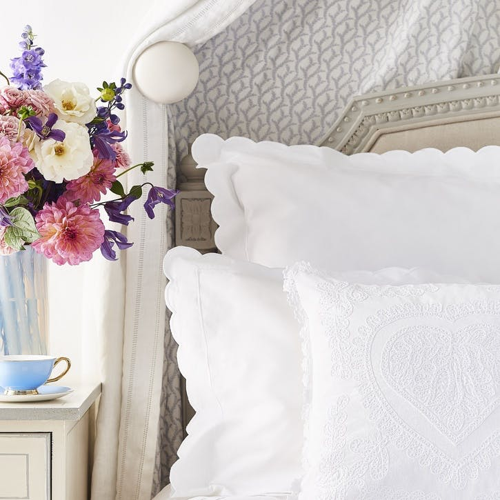 White Scalloped Square Pillowcase