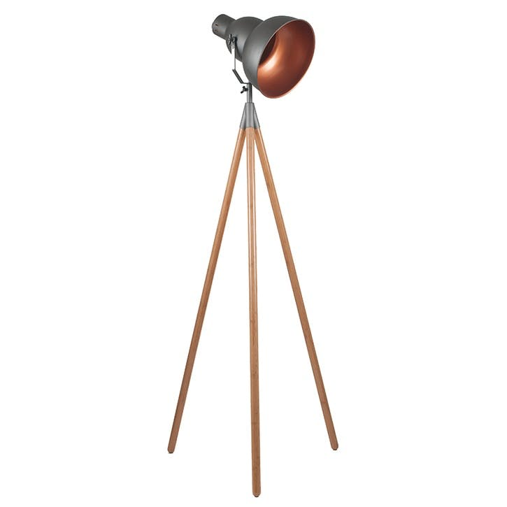 Larkin Tripod Floor Light; Grey & Copper