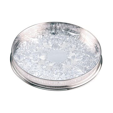 11″ Silver Plated Round Embossed Gallery Tray