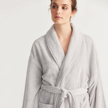 Unisex Classic Cotton Robe, Large, Pearl Grey