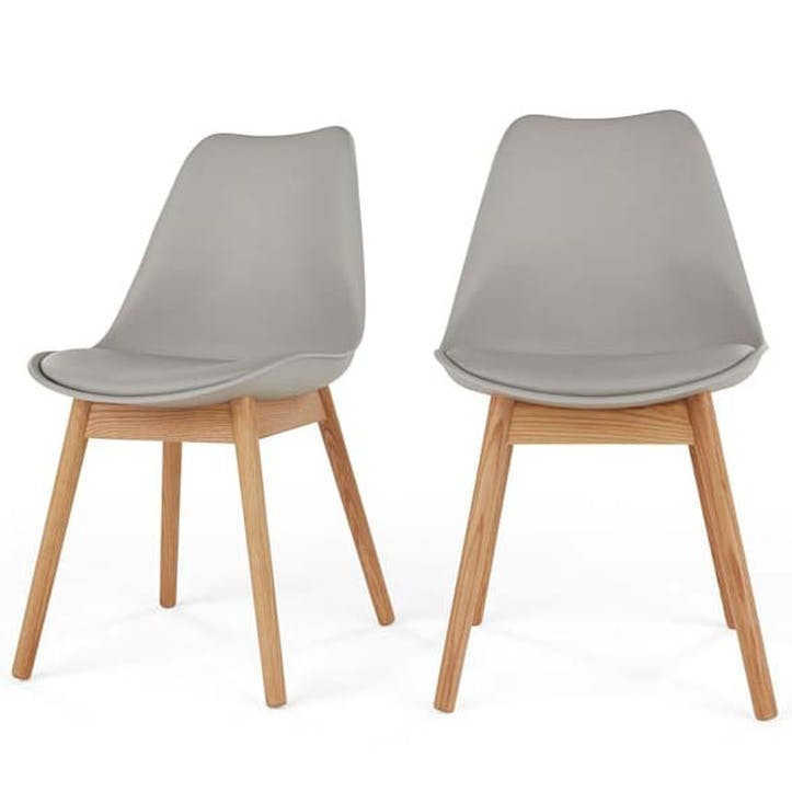 Thelma Set of 2 Dining Chairs; Grey/ White