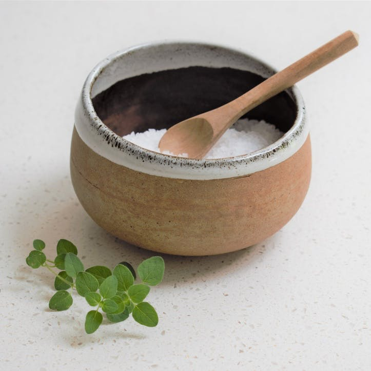 Stoneware Salt Cellar with Spoon