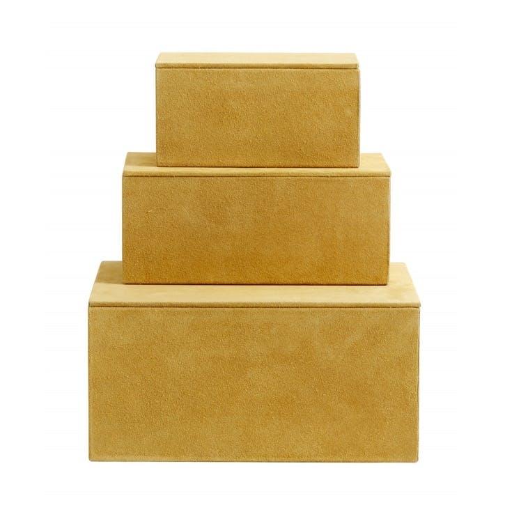 Suede Storage Boxes, Mustard, Set of 3
