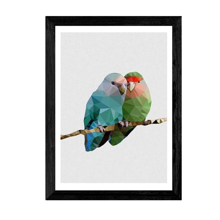Studio Cockatoo, Two Love Birds, Framed Art Print, H48 x W37 x D2cm, Black
