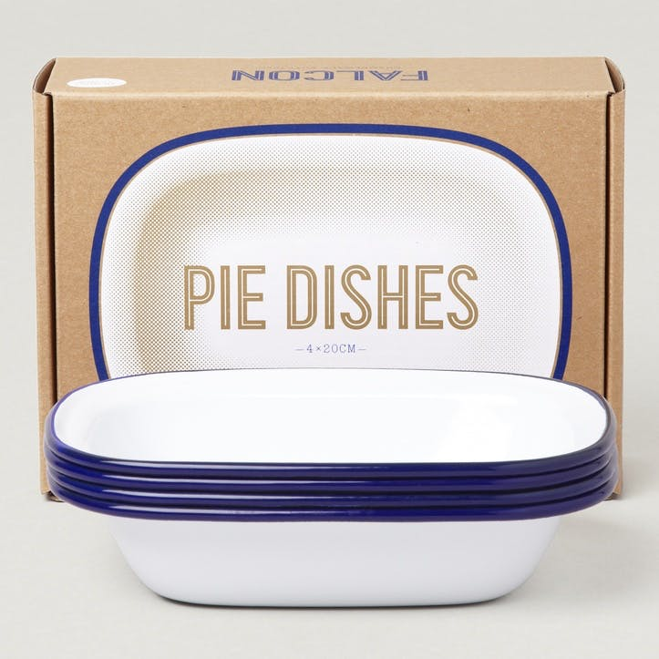 Pie Dishes, White with Blue Rim