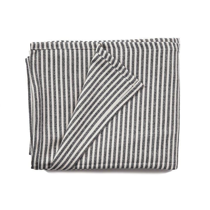 Harbour Stripe Cotton Tablecloth, Black & Ecru
