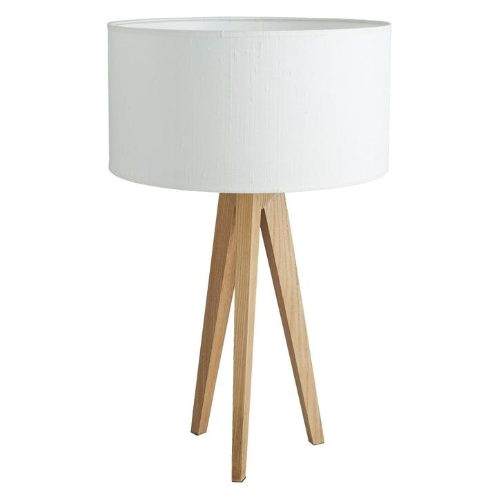 Tripod Ash Wooden Table Lamp With White Silk Shade