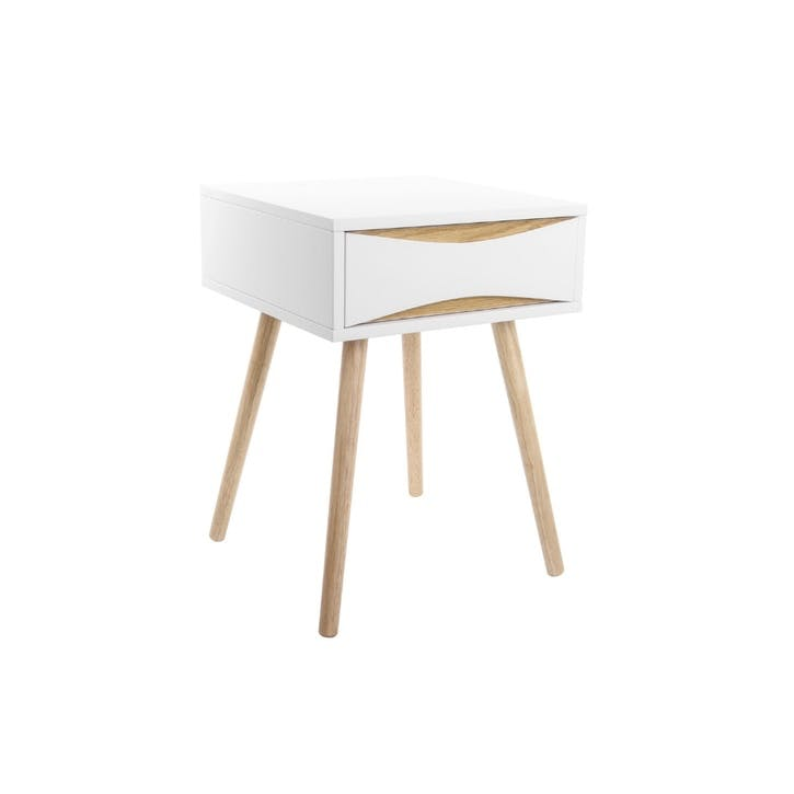 Bedside Table with Drawer, White