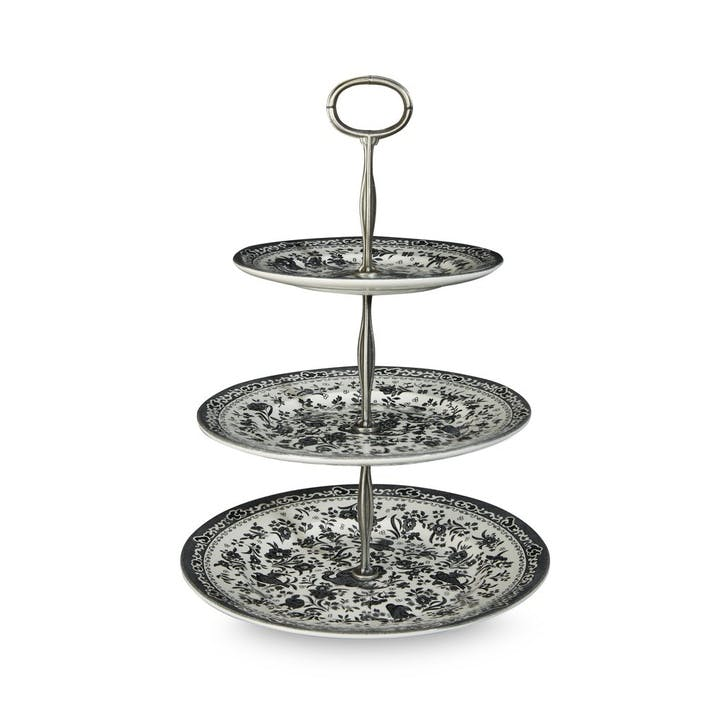 Black Regal Peacock 3 Tier Cake Stand