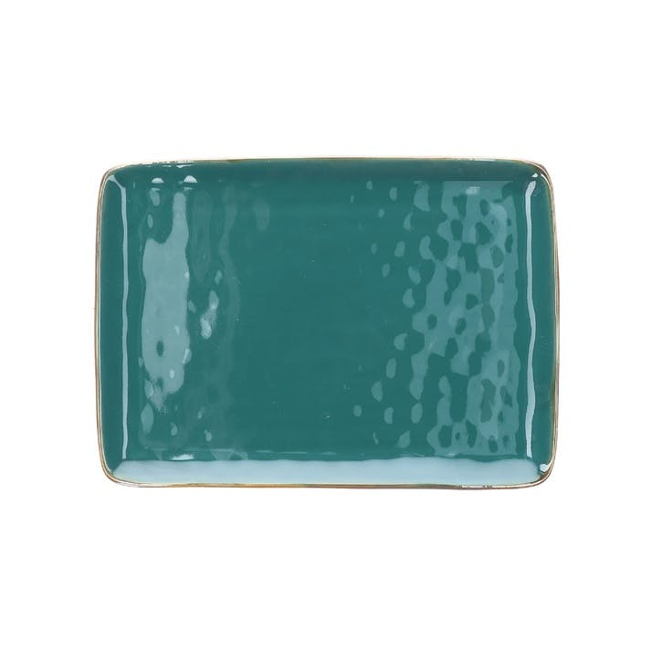 Concerto Rectangular Tray, Teal Blue