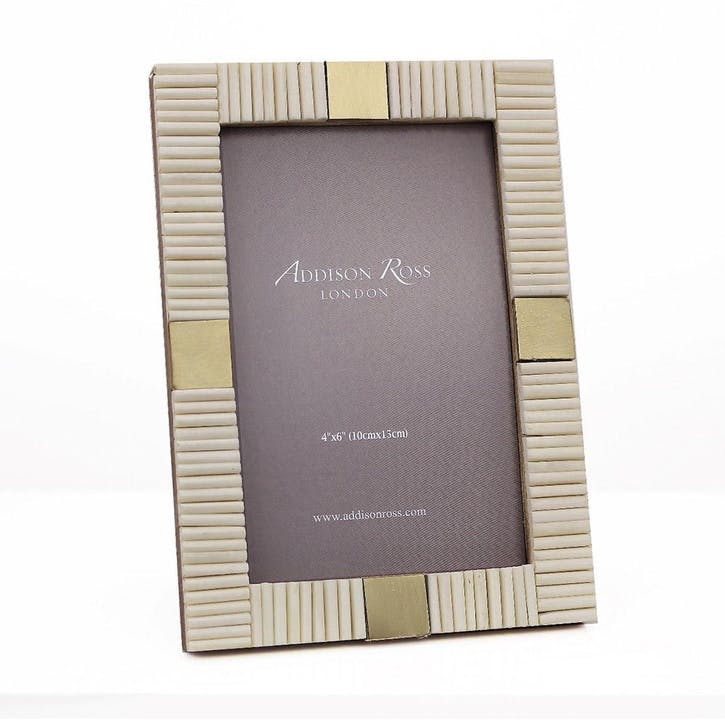 "White Striped Bone Photo Frame - 4"" x 6"""