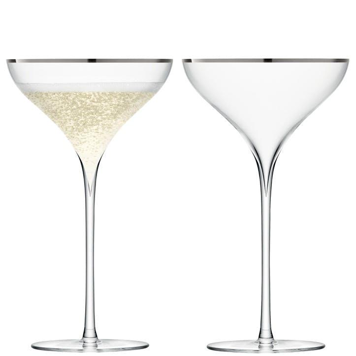 LSA Savoy Champagne Saucer, Set of 2, Platinum