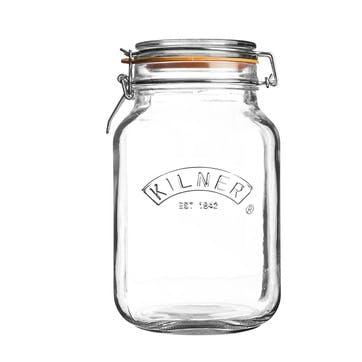 Square Cliptop Jar - 2 Litre