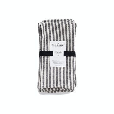 Harbour Stripe Napkin Set of 4, Black & Ecru
