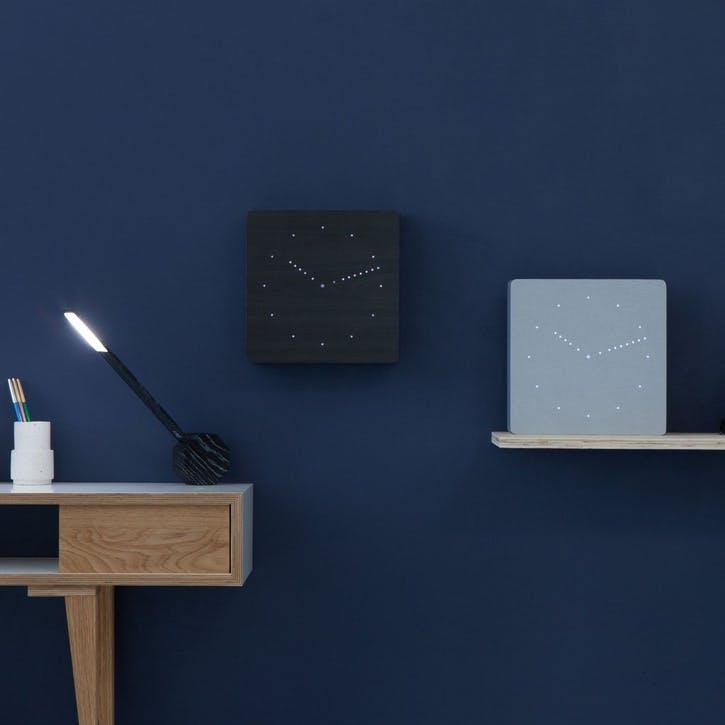 Analogue Click Clock Black/ White LED, 25cm