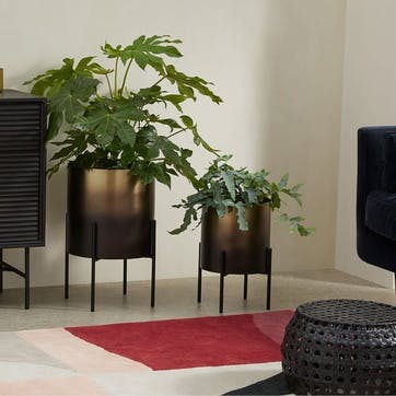 Valletta, Set of 2 Standing Planters, Brass and Black