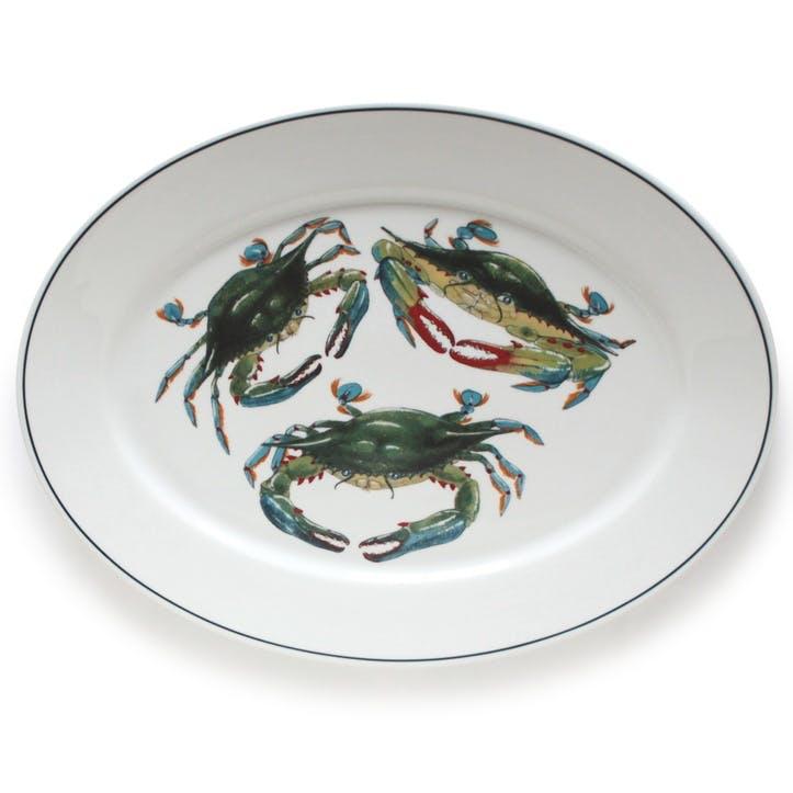 Seaflower Blue Crab Oval Platter, 42cm, Blue