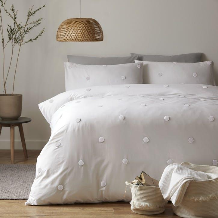 Polka Bedding Set, Double, White