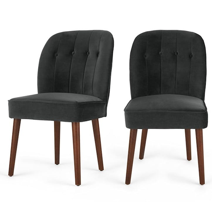 Margot Set of 2 Dining Chairs, Midnight Grey Velvet