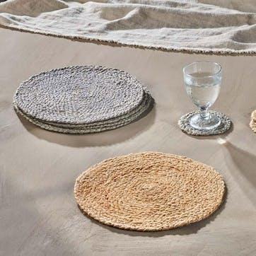 Braided Hemp, Tablemat, Soft Grey