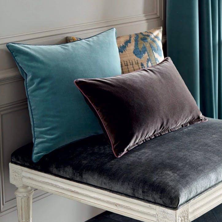 Plain Velvet Cushion, Teal