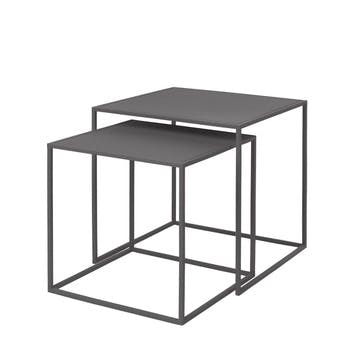 Fera Set of 2 Side Tables, Steel Grey