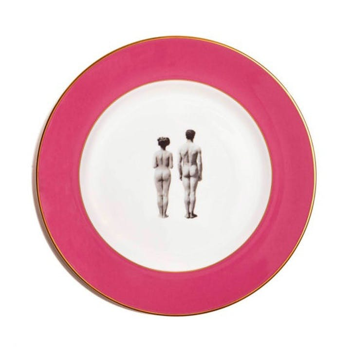 Modern Surrealist The Models Dinner Plate, Raspberry Pink