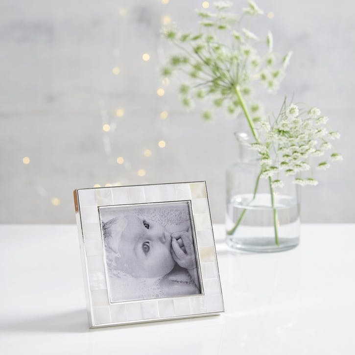 """Mother Of Pearl Photo Frame 3x3"""", White"""