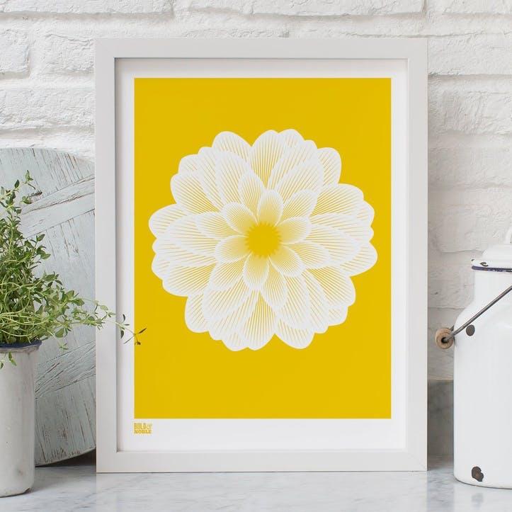 Dahlia Peony Screen Print - 30 x 40cm; Bright Yellow