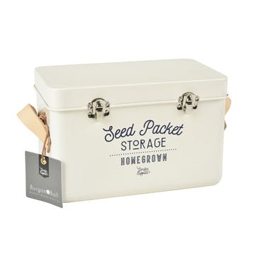 Leather Handled Seed Packet Storage Tin