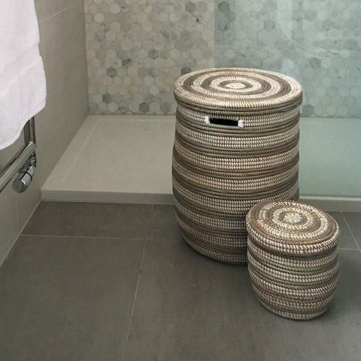 Small Round Storage Basket with Lid, Natural/ Grey Stripes