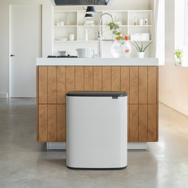 Bo Large Recycling Bin with 2 Inner Buckets, White