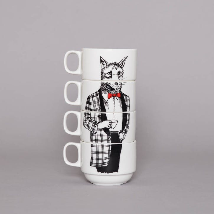 'Mr Fox' Coffee Cups, Set of 4