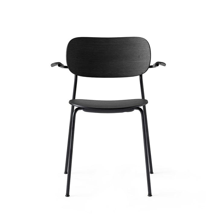 Co, Pair of Dining Chairs, H80 x W62 x D53cm, Black & Black Steel