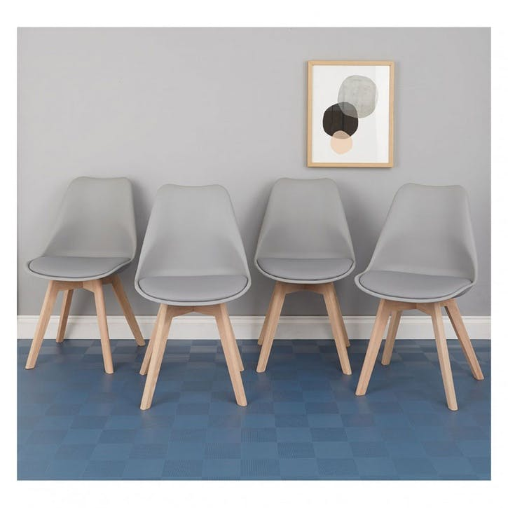 Jerry Set of 4 Dining Chairs, Grey