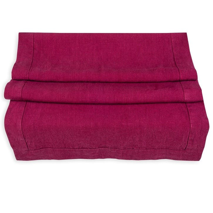 Linen Table Runner; Wine Red