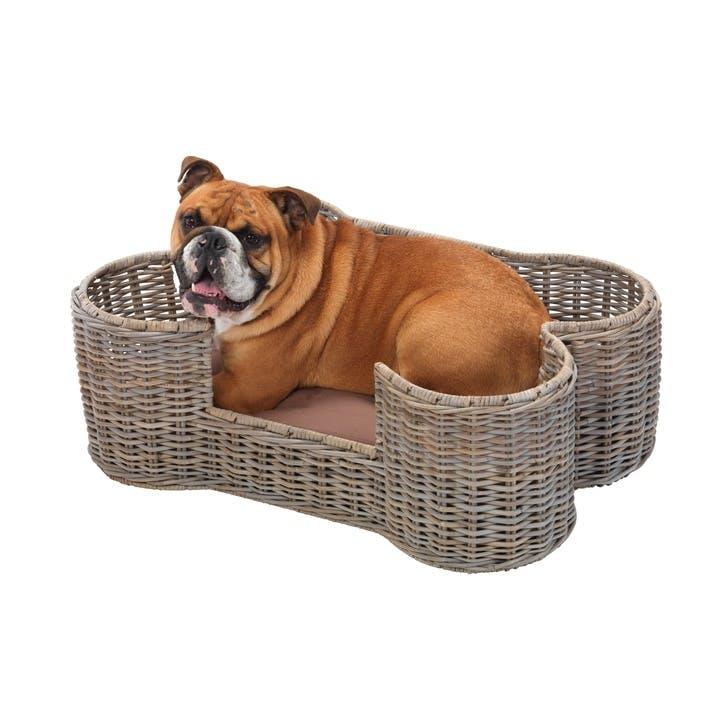 House Of Paws Rattan Dog Bone Pet Basket - Medium