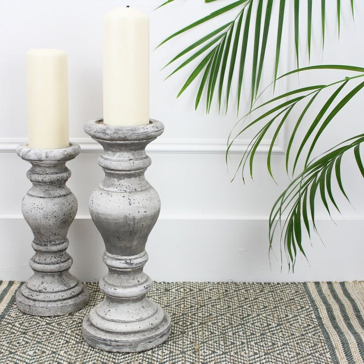 Stone Effect Candlestick - Large
